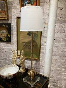 Tall Brass and Acrylic Base Lamp
