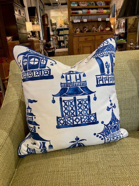 Blue and White Pagoda Custom Pillows