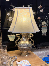 Load image into Gallery viewer, Vintage Brass Chinoiserie Dragon Handle Lamp