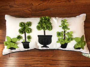 Green Topiaries/ Black and White Striped Pillow