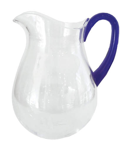 Clear Acrylic Pitcher w/ Cobalt Handle - Chestnut Lane Antiques & Interiors