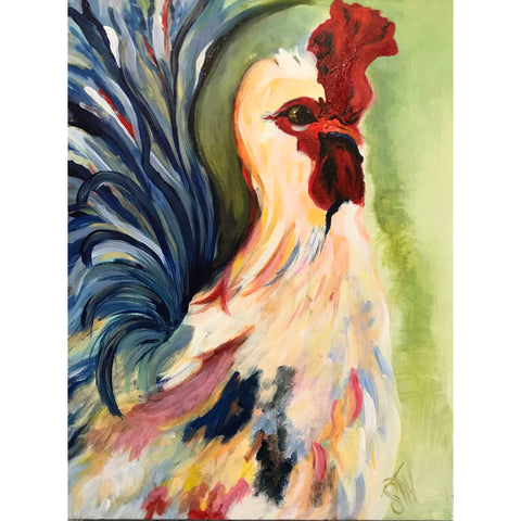 "Acrylic on Canvas - ""Colorful Rooster"""