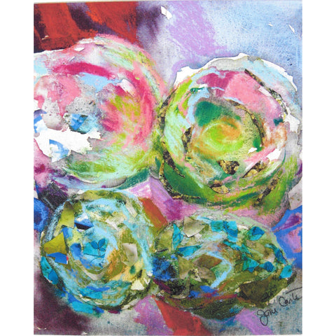 "Original Signed Pastel & Watercolor - ""Four Cabbages"""