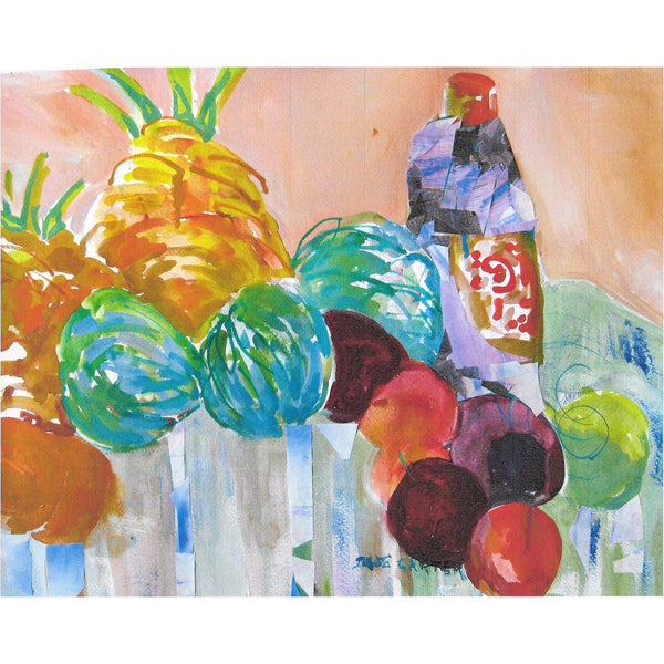 "Original Signed Watercolor & Acrylic - ""Veggies & Pineapples"""
