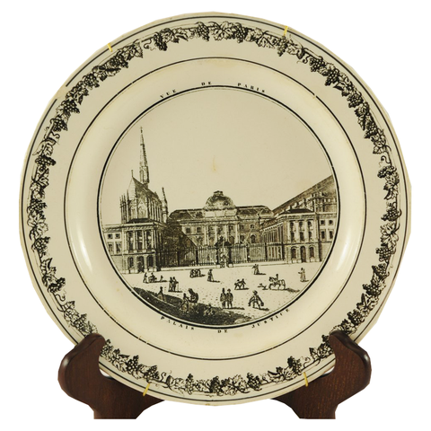 "Antique Black & White Plate ""Vue De Paris - Palais De Justice"" - Chestnut Lane Antiques & Interiors - 1"