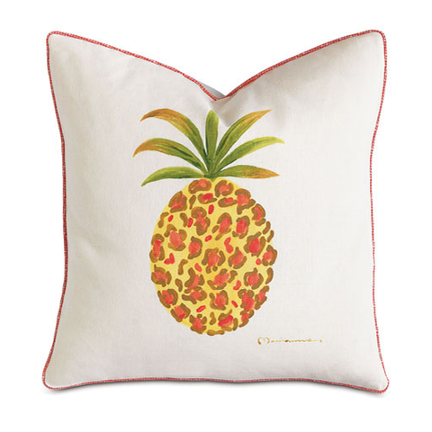 Hand Painted Pineapple Pillow - Chestnut Lane Antiques & Interiors - 1
