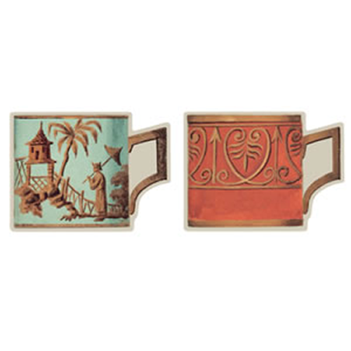 Salon de Thé Celadon/Orange Die Cut Coasters - Chestnut Lane Antiques & Interiors