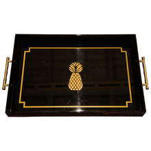 Load image into Gallery viewer, Gold & Black Pineapple Tray with Faux Bamboo Handles - Chestnut Lane Antiques & Interiors - 1