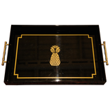 Gold & Black Pineapple Tray with Faux Bamboo Handles - Chestnut Lane Antiques & Interiors - 1