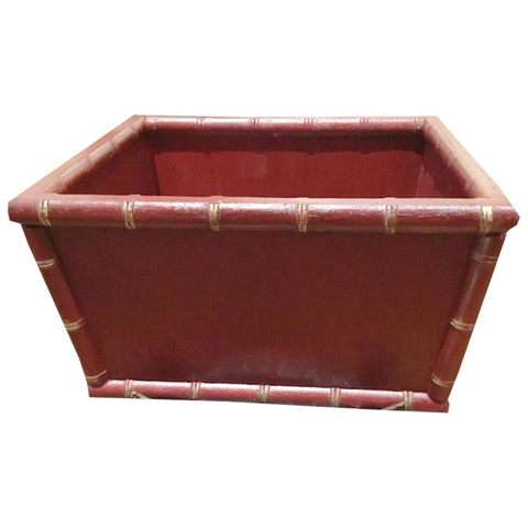 Red Faux Bamboo Planter - Chestnut Lane Antiques & Interiors - 1