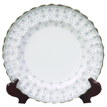 Load image into Gallery viewer, Spode Fleur De Lys Gray Bone China Dinner Plate