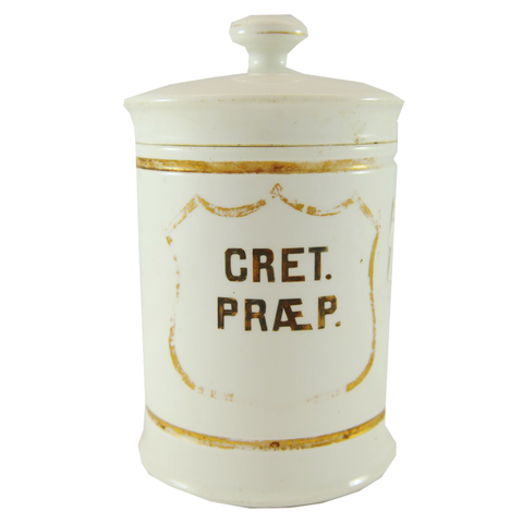 "Early French Apothecary Jar ""Cret Praep"" - Chestnut Lane Antiques & Interiors - 1"