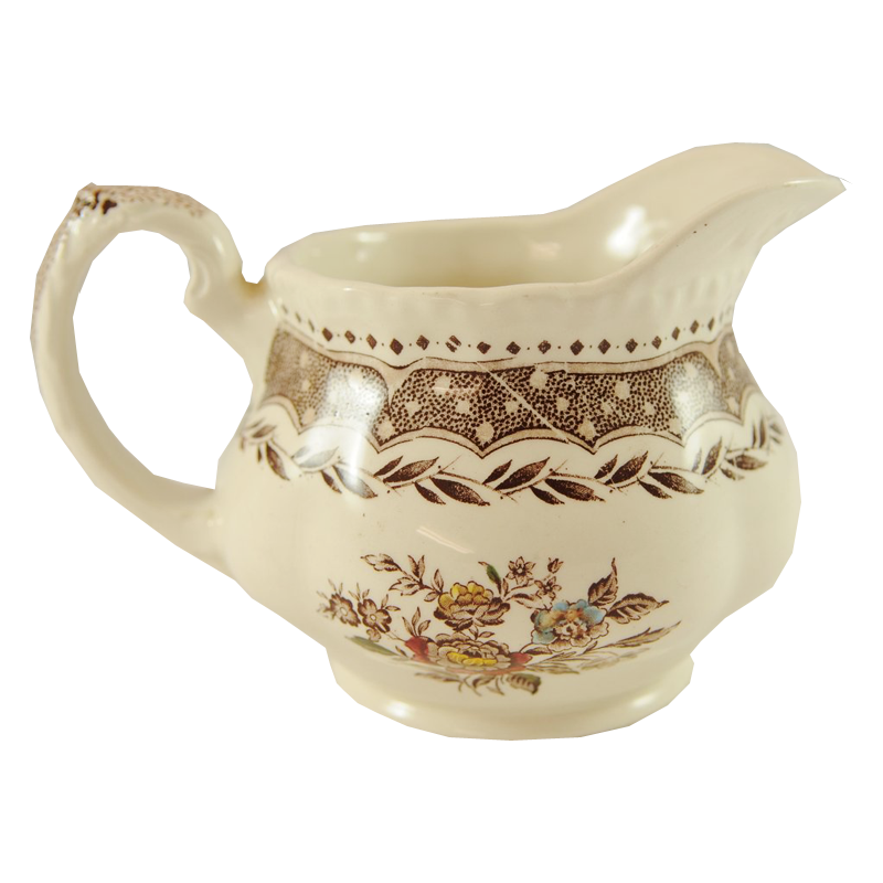Antique Brown Transferware Pitcher Jug Circa 1890 - Chestnut Lane Antiques & Interiors - 1