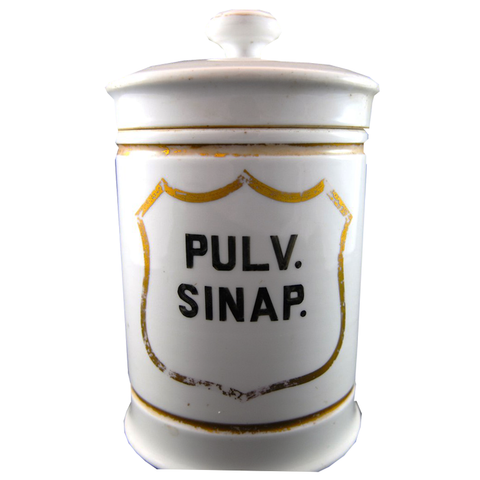 "Early French Apothecary Jar ""Pulv Sinap"" - Chestnut Lane Antiques & Interiors - 1"
