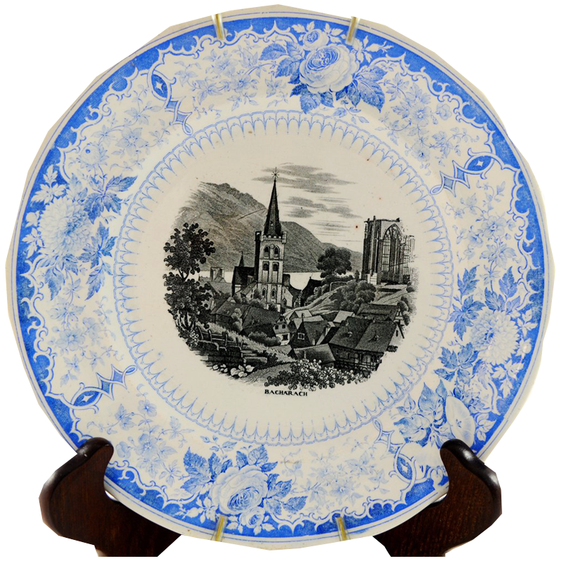 "Blue and White Antique Transferware Plate ""Bacharach"" - Chestnut Lane Antiques & Interiors - 1"