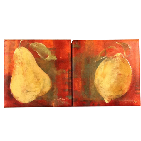 Pair of Fruit Oil on Canvas Paintings by Agnes Saint Leger