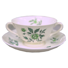 Load image into Gallery viewer, Wedgwood Green Leaf Footed Cream Soup Bowl and Saucer - Chestnut Lane Antiques & Interiors - 1