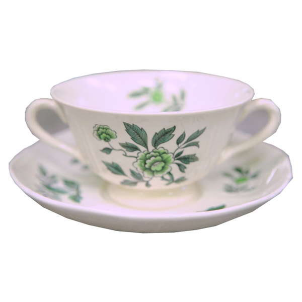 Wedgwood Green Leaf Footed Cream Soup Bowl and Saucer - Chestnut Lane Antiques & Interiors - 1