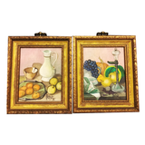 Pair of Miniature Paintings on Linen Still Life - Chestnut Lane Antiques & Interiors - 1
