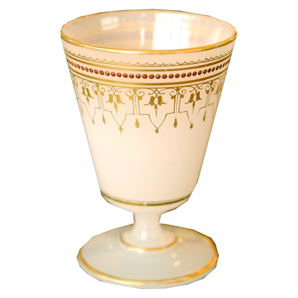 Antique French White Opaline and Gold Accent Goblet Pontil - Chestnut Lane Antiques & Interiors - 1
