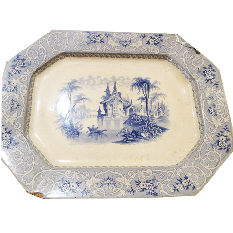 Blue & White Transferware Platter - Chestnut Lane Antiques & Interiors - 1
