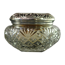 Load image into Gallery viewer, Antique American Sterling Silver And Cut Glass Vanity Jar With Bone and Down Powder Puff - Chestnut Lane Antiques & Interiors - 1