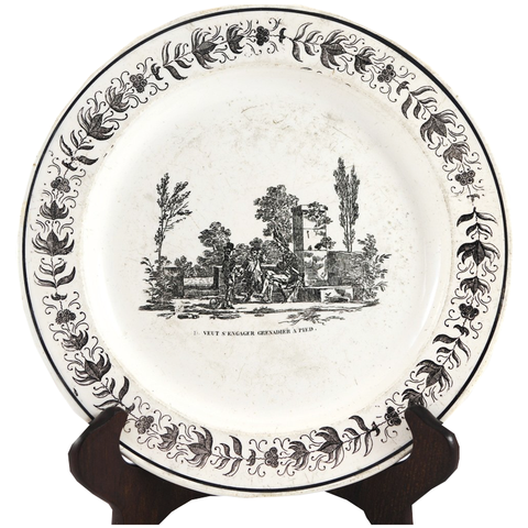 "Antique Black & White Pottery Plate ""Veut S'Engager Grenadier A Pied"" - Chestnut Lane Antiques & Interiors - 1"