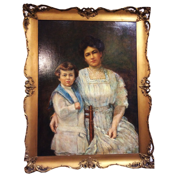 Antique Portrait of Lady and Boy - Chestnut Lane Antiques & Interiors - 1