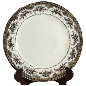 Brown French Transferware Plate - Chestnut Lane Antiques & Interiors - 1