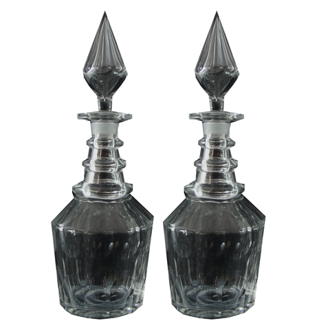 Pair of Georgian Style 19th Century Three Ring Glass Decanters with Spire Stopper - Chestnut Lane Antiques & Interiors - 1