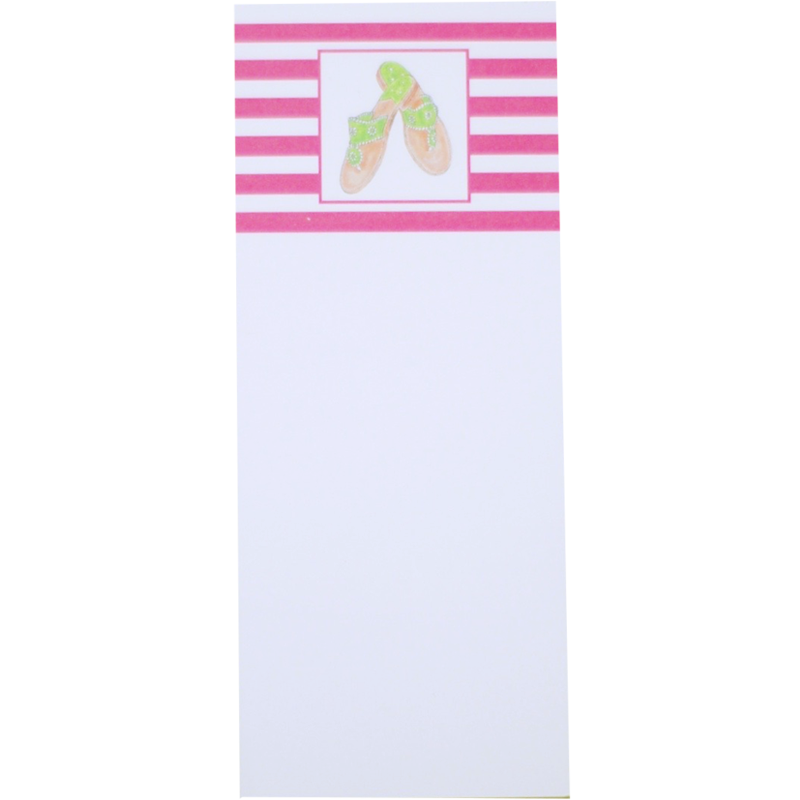 Pink Striped Notepad with Green Sandals - Chestnut Lane Antiques & Interiors - 1