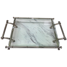 Load image into Gallery viewer, Metal Faux Bamboo  and Glass Tray - Chestnut Lane Antiques & Interiors - 1