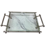 Metal Faux Bamboo  and Glass Tray - Chestnut Lane Antiques & Interiors - 1