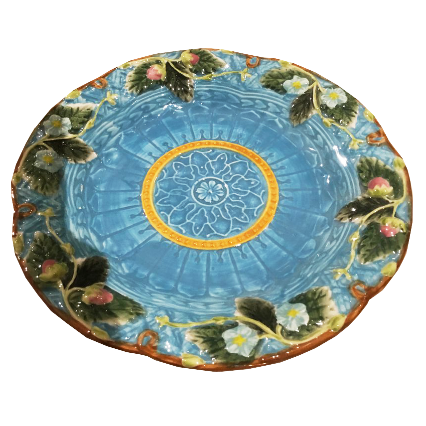 Set of 9 Blue Majolica Style Plates - Chestnut Lane Antiques & Interiors - 1