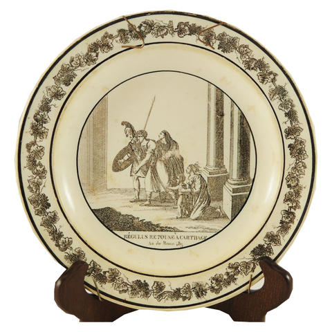 "Antique Black & White Plate ""Regulus Retoune A Carthage - Au De Rome"" - Chestnut Lane Antiques & Interiors - 1"