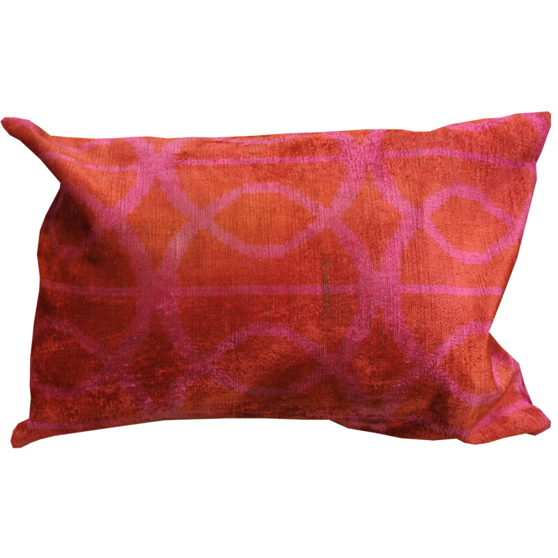 Turkish Velvet Pillow Cover - Hot Pink & Orange - Chestnut Lane Antiques & Interiors - 1
