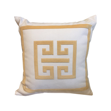 Load image into Gallery viewer, Cream/Gold Greek Key Pillow - Chestnut Lane Antiques & Interiors - 1