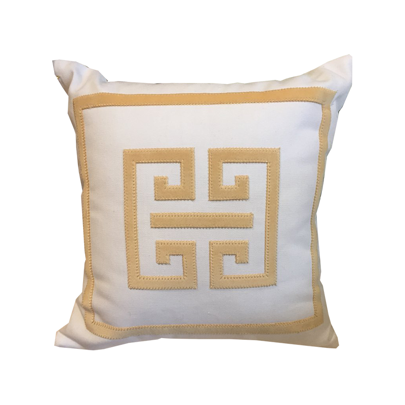 Cream/Gold Greek Key Pillow - Chestnut Lane Antiques & Interiors - 1