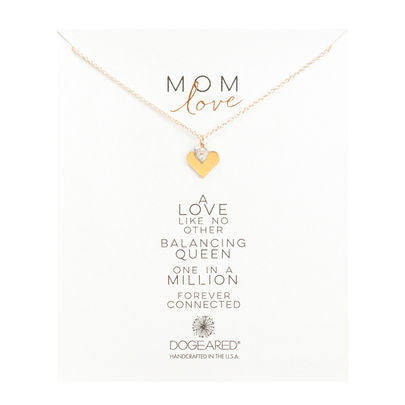 mom love double heart charm necklace, gold dipped - Chestnut Lane Antiques & Interiors