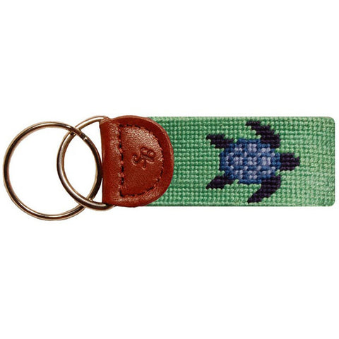 Blue Turtle Needlepoint Key Fob - Smathers & Branson