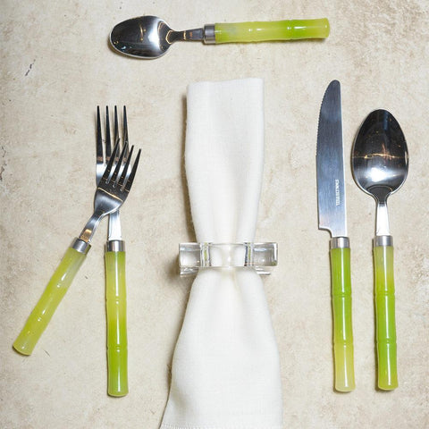 Bamboo Handle 5-Piece Stainless Steel Picnicware Set in Green
