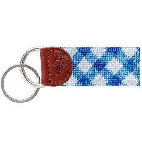 Blue Gingham Needlepoint Key Fob