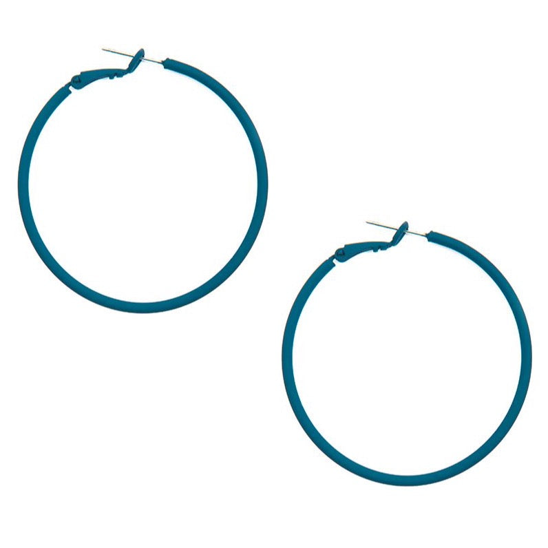 Matte Hoop Earrings - Teal