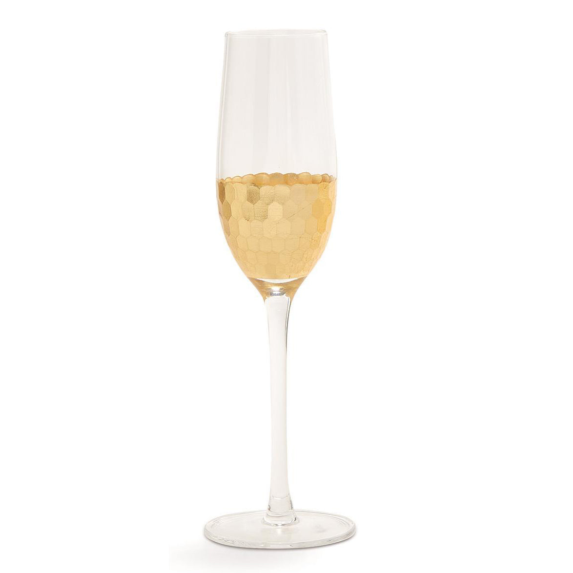 Gold Faceted Champagne Flute