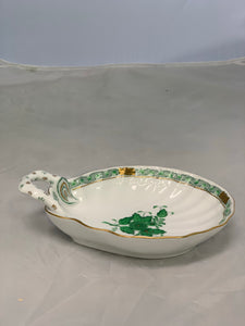 Herend Chinese Bouquet Green Oblong Handled Small Scalloped Bowl