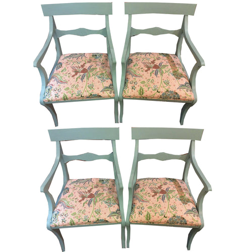 Set of 4 Newly Upholstered Duck Egg Blue Chairs - Chestnut Lane Antiques & Interiors - 1