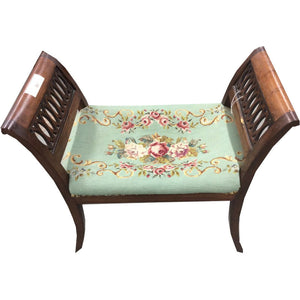 Needlepoint Vanity Stool - Chestnut Lane Antiques & Interiors - 1