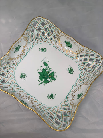 Herend Chinese Bouquet Green Square Reticulated Bowl