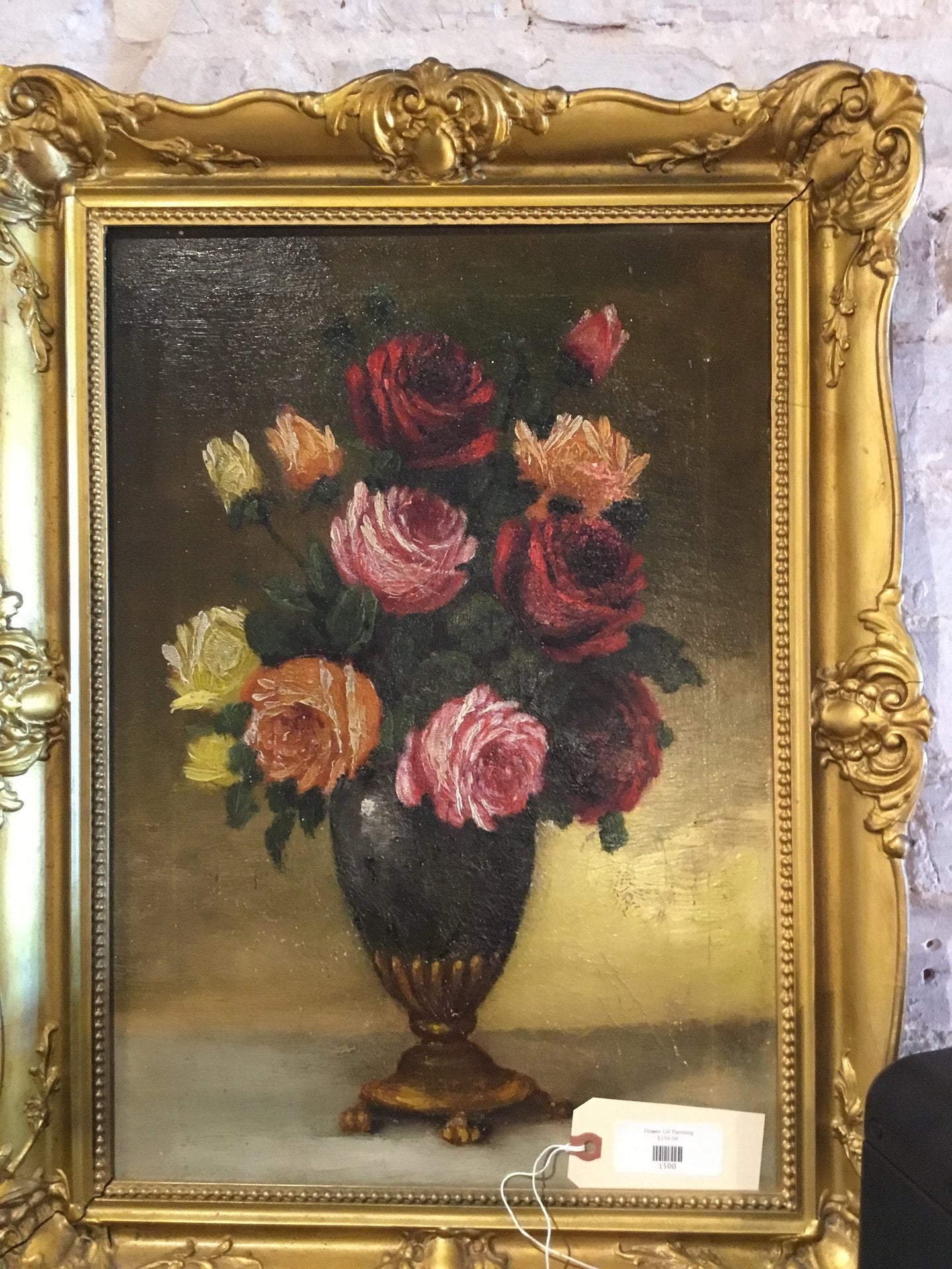 Flower Oil Painting - Chestnut Lane Antiques & Interiors