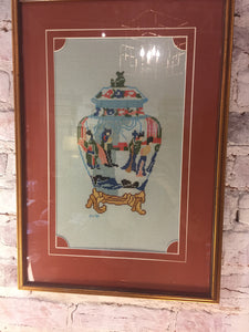 Cross Stitch Ginger Jar - Chestnut Lane Antiques & Interiors - 1